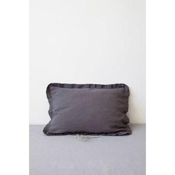 Ciemnoszara lniana poszewka na poduszkę z falbanką Linen Tales, 50x60 cm
