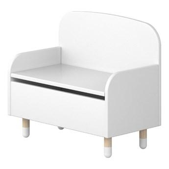 Biała ławka ze schowkiem i oparciem Flexa Dots