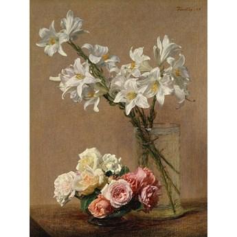 Reprodukcja obrazu Henri Fantina-Latoura – Roses and Lilies, 45x60 cm