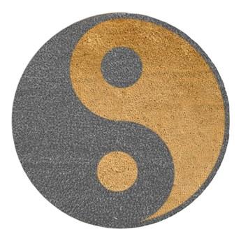 Okrągła wycieraczka Artsy Doormats Grey Yin Yang, ⌀ 70 cm