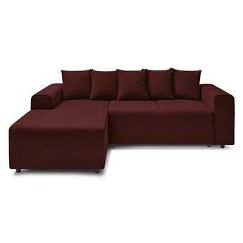 Ciemnoczerwona rozkładana sofa Bobochic Paris Faro, lewostronna