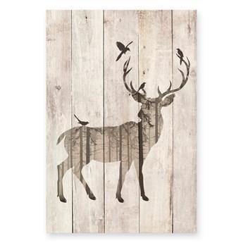 Dekoracyjna tabliczka z drewna sosnowego Really Nice Things Watercolor Deer, 40x60 cm