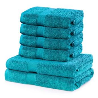 Zestaw 6 turkusowych ręczników DecoKing Marina