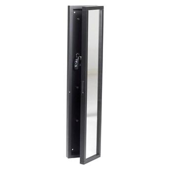 Czarna skrzynka na klucze z drewna dębowego z lustrem Rowico Sol