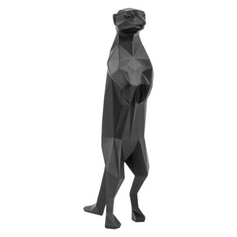 Czarna matowa figurka w kształcie surykatki PT LIVING Origami Meerkat