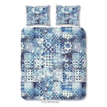 Pościel dwuosobowa z satyny bawełnianej Sahara Azul, 200x200 cm