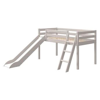 Szare dziecięce łóżko z drewna sosnowego z drabinką i zjeżdżalnią Flexa Classic, wys. 120 cm