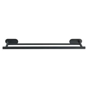 Matowy czarny podwójny ścienny uchwyt na ręczniki ze stali nierdzewnej Wenko Orea Rail Duo Turbo-Loc®