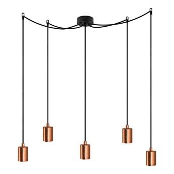 Czarna pięcioramienna lampa wisząca z detalami w kolorze miedzi Bulb Attack Cero
