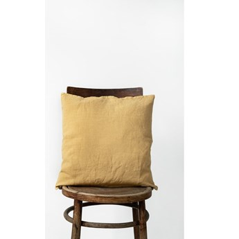 Musztardowa lniana poszewka na poduszkę Linen Tales, 45x45 cm