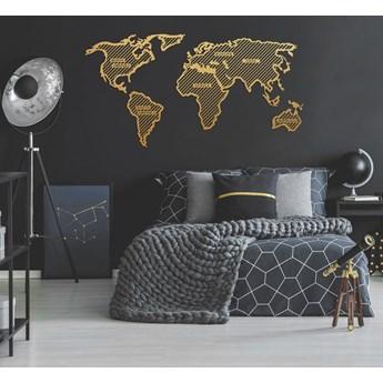 Metalowa dekoracja ścienna w złotym kolorze World Map In The Stripes, 150x80 cm
