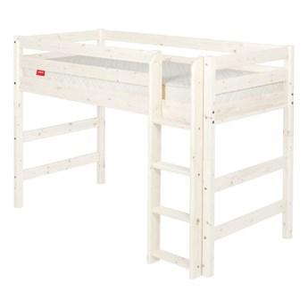 Białe wyższe łóżko dziecięce z drewna sosnowego Flexa Classic, 90x200 cm