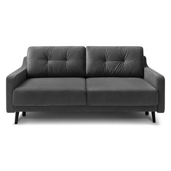 Ciemnoszara aksamitna rozkładana sofa 3-osobowa Bobochic Paris Torp