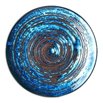 Niebieski talerz ceramiczny MIJ Copper Swirl, ø 29 cm