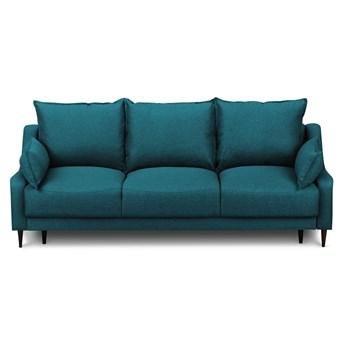 Turkusowa rozkładana sofa ze schowkiem Mazzini Sofas Ancolie, 215 cm