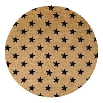 Okrągła wycieraczka z naturalnego włókna kokosowego Artsy Doormats Stars, ⌀ 70 cm