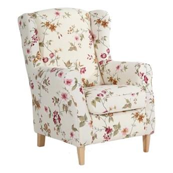 Kremowobiały fotel w kwiaty Max Winzer Lorris