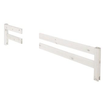Biała przerywana barierka z drewna sosnowego do łóżka Flexa Classic, dł. 197 cm