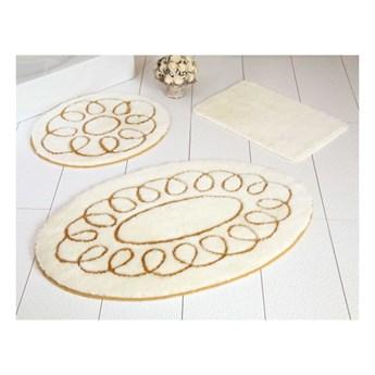 Zestaw 3 beżowych dywaników łazienkowych Safir