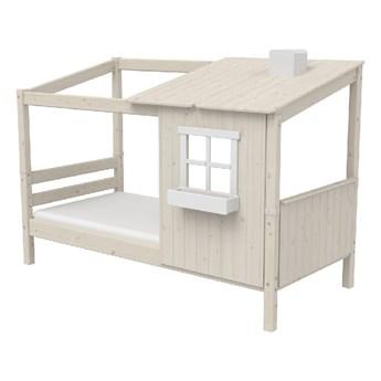 Białe łóżko w kształcie domu z drewna sosnowego Flexa Classic Tree House, 90x200 cm