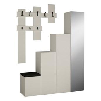 Komplet białej szafy i wieszaka ściennego Homitis Up