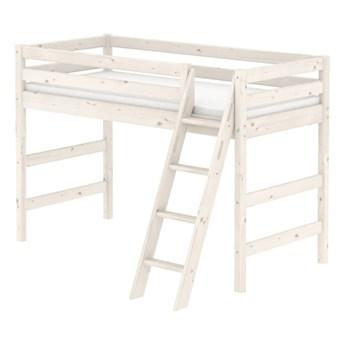 Białe wysokie łóżko dziecięce dla 2 osób z drabinką z drewna sosnowego Flexa Classic, 90x200 cm