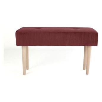 Ławka z bukowego drewna z czerwonym aksamitnym obiciem Surdic