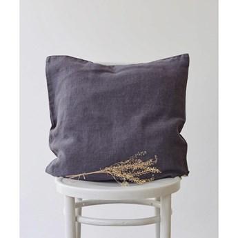Antracytowa lniana poszewka na poduszkę Linen Tales, 45x45 cm