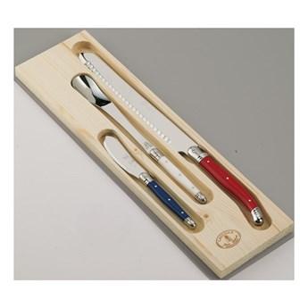 Zestaw 3 noży do pieczywa i marmolady ze stali nierdzewnej w drewnianym pojemniku Jean Dubost Paris
