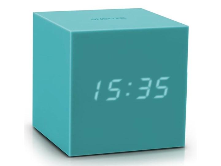 Turkusowy budzik LED Gingko Gravitry Cube Kwadratowy Zegar stołowy Plastik Tworzywo sztuczne Pomieszczenie Pokój nastolatka