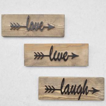 Zestaw 3 drewnianych dekoracji ściennych Black Love