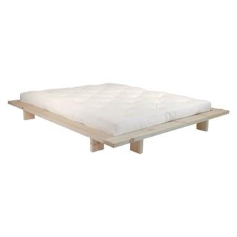 Łóżko dwuosobowe z drewna sosnowego z materacem Karup Design Japan Double Latex Raw/Natural, 140x200 cm