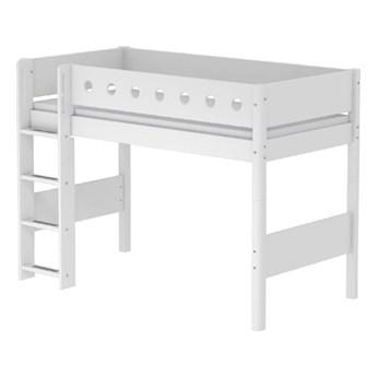 Białe duże łóżko dziecięce z drabinką Flexa White Single, 90x200 cm