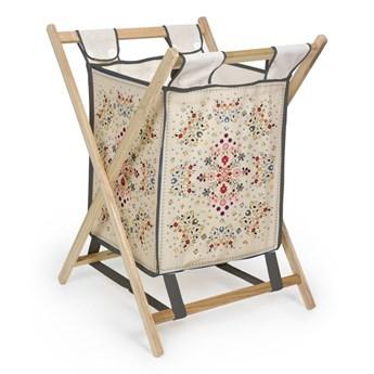 Kosz na pranie z drewna sosnowego Madre Selva Flowers Tapestry, 60 l