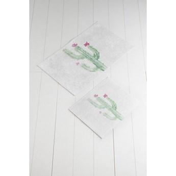 Komplet 2 biało-zielonych dywaników łazienkowych Tropica Cactus III
