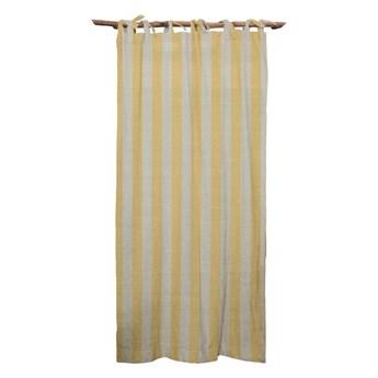 Żółta zasłona Linen Cuture Cortina Hogar Yellow Stripes