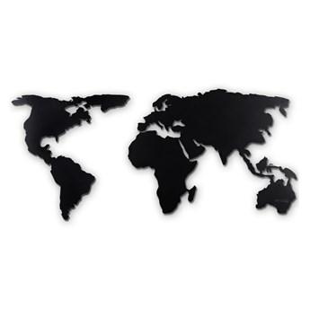 Czarna metalowa dekoracja ścienna World Map XL