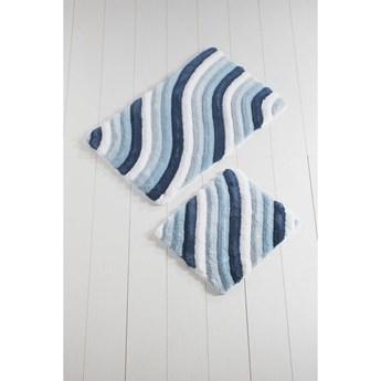 Komplet 2 niebieskich dywaników łazienkowych Colorful