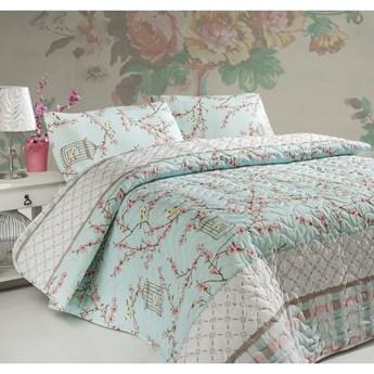 Zestaw narzuty dwuosobowej i 2 poszewek na poduszki z domieszką bawełny Birdcage, 200x220 cm