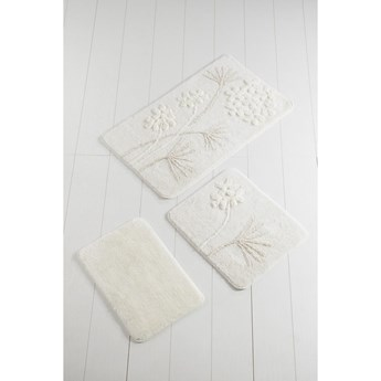 Zestaw 3 białych dywaników łazienkowych Flowers