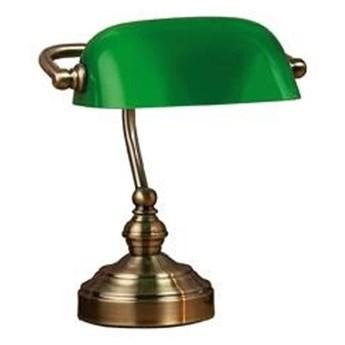 Zielona lampa stołowa z podstawą w kolorze mosiądzu Markslöjd Bankers, wys. 25 cm