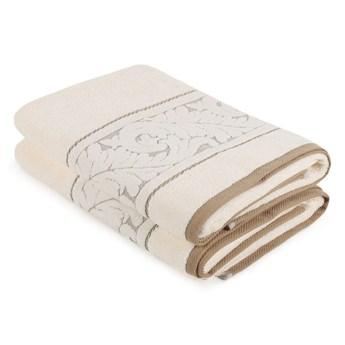 Zestaw 2 kremowych ręczników bawełnianych Akdeniz, 70x140 cm