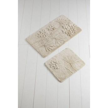 Komplet 2 beżowych dywaników łazienkowych Karima Muna