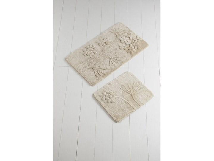 Komplet 2 beżowych dywaników łazienkowych Karima Muna Prostokątny 60x100 cm 50x60 cm Kategoria Dywaniki łazienkowe
