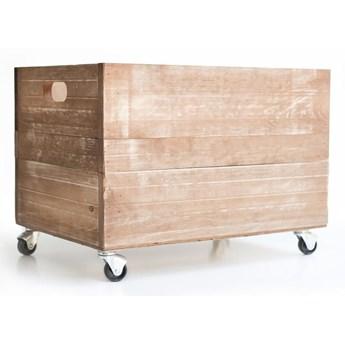 Brązowa skrzynka na kółkach z drewna sosnowego Really Nice Things Wheels