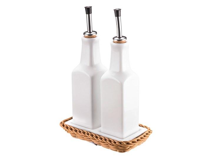 Porcelanowy komplet butelek na olej i ocet Saleen Korbeige