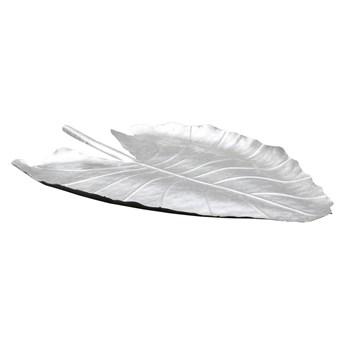 Dekoracyjny talerz w kolorze srebrnym Mauro Ferretti Leaf, 32x47,5 cm