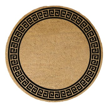 Okrągła wycieraczka z naturalnego włókna kokosowego Artsy Doormats Greek Border, ⌀ 70 cm