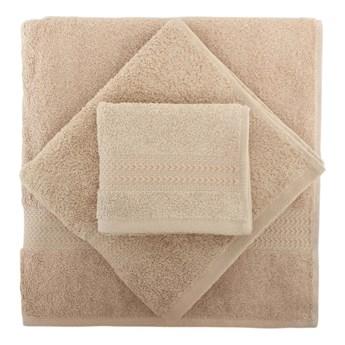 Komplet 2 beżowych ręczników i ręcznika kąpielowego Rainbow