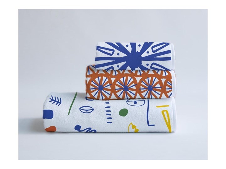 Zestaw 3 ręczników Madre Selva Juno 60x140 cm Komplet ręczników Ręcznik kąpielowy 40x90 cm Bawełna 30x40 cm Kategoria Ręczniki